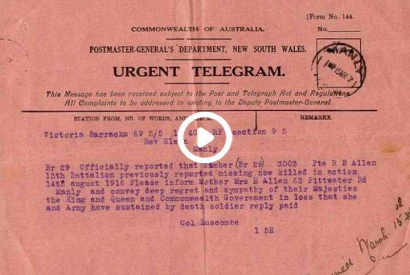 Pink telegrams - Anzac Day speech 2020